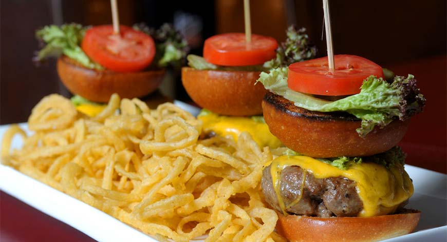 Slider Cheese Burgers with Side of Fries