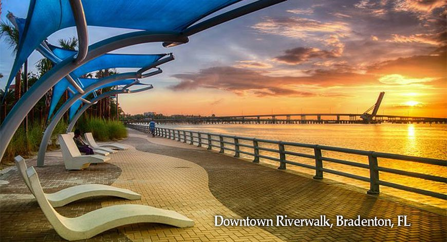 Sunset at Downtown Riverwalk, Bradenton FL