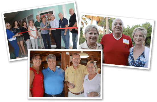 3 Images of Ribbon Cutting and Chamber Members at Events