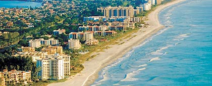 arial shot of longboat key beach