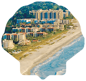Arial View of Beach Masked in a Shell Links to Community Page