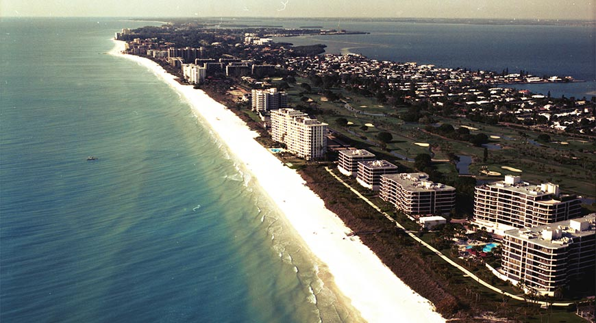 Aerial view of beach and hi rises
