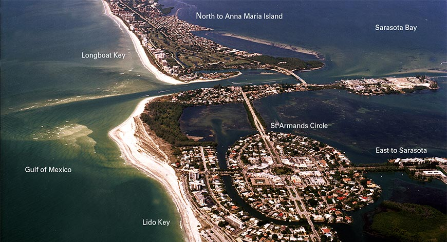 Very high aerial view of Longboat Key, Sarasota Bay and Surrounding areas