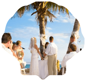 Wedding on a Beach Masked in a Shell Links to Wedding Page