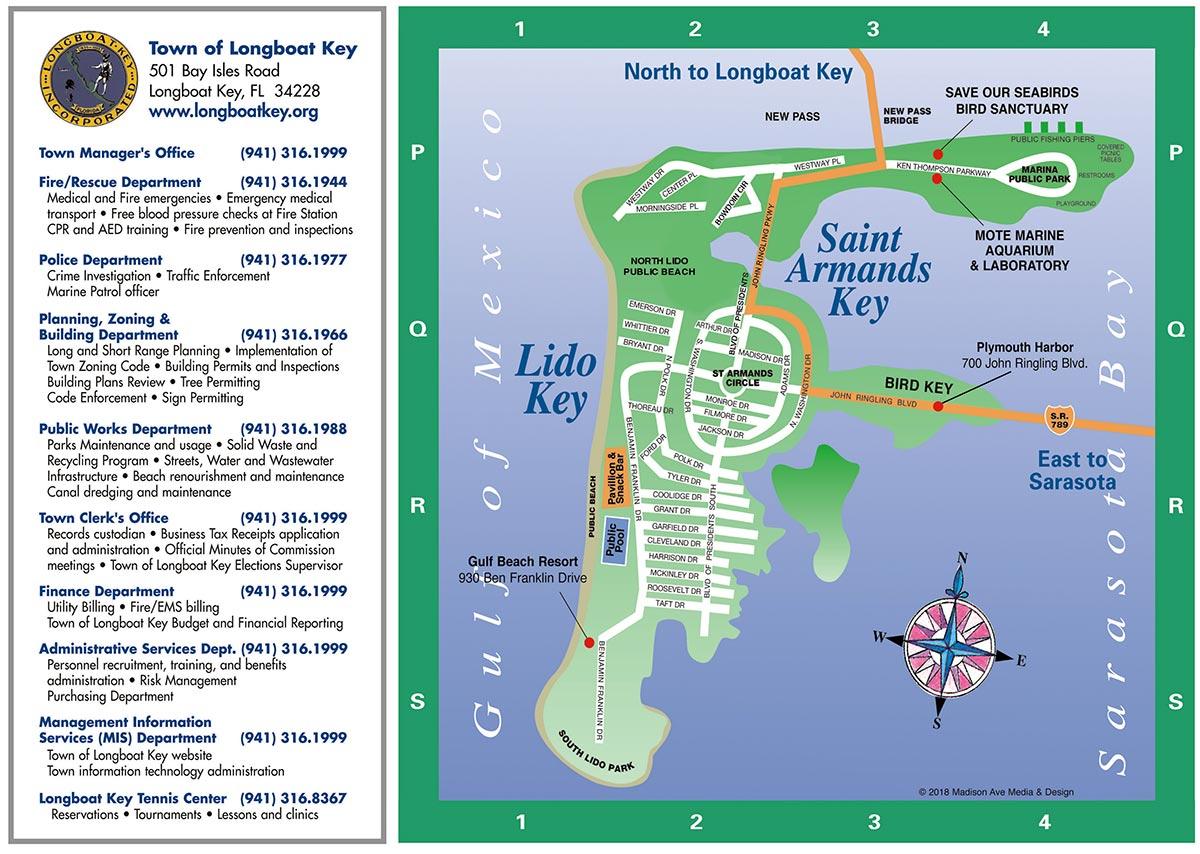 Longboat Key tourist Map back