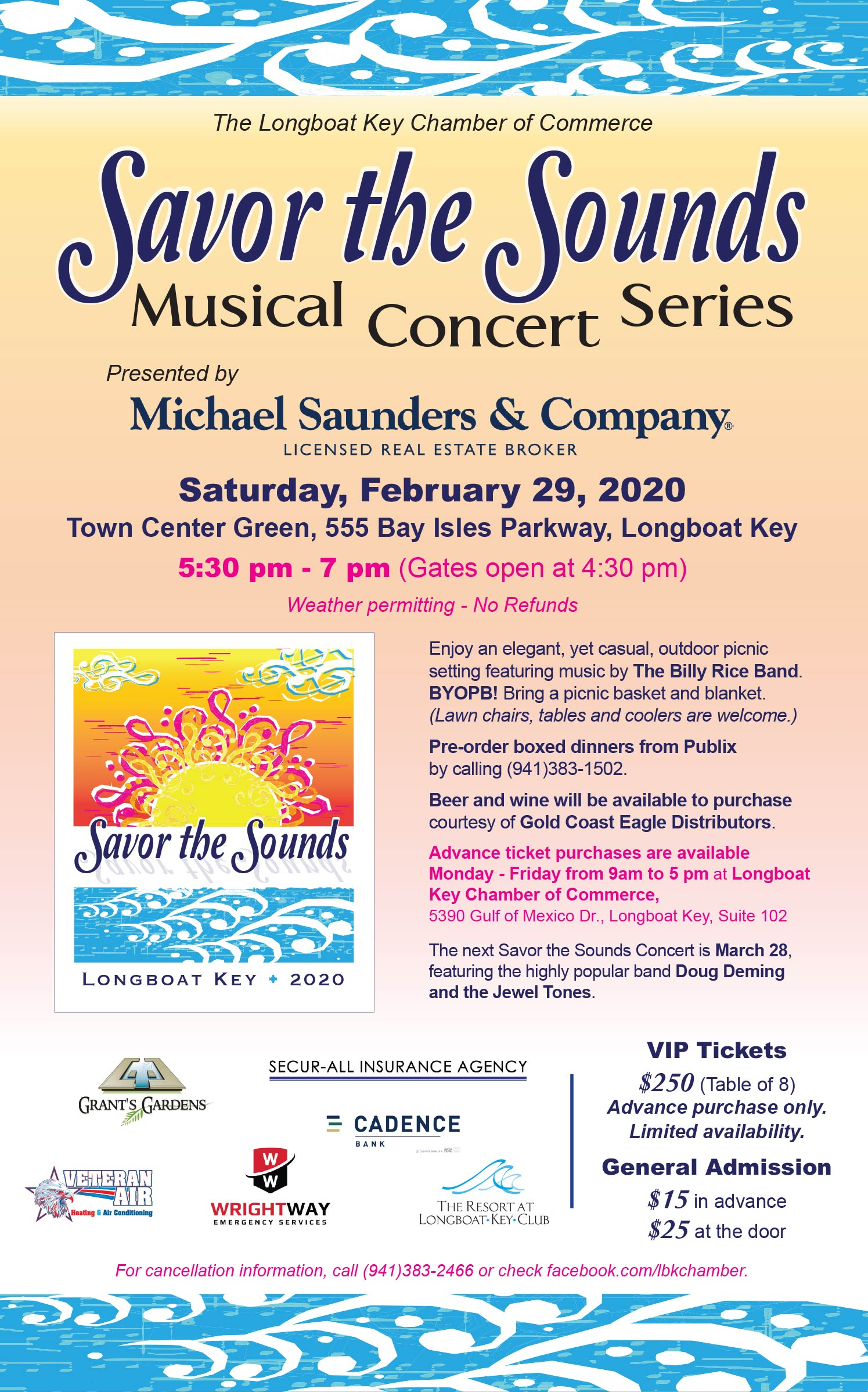 Savor the Sounds music counter series. Saturday, February 29, 2020. 5:30pm - 7pm. Town Ceenter Green. 555 Bay Isles Parkway, Longboat Key