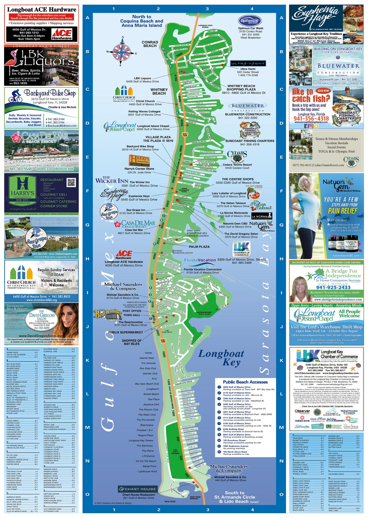 Longboat Key tourist Map front