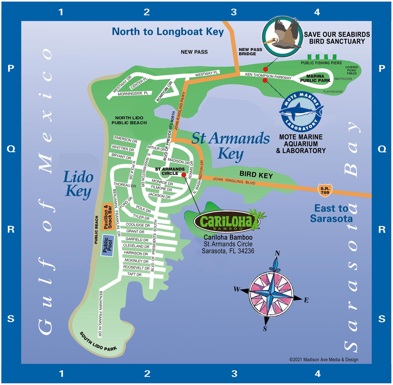 Longboat Key tourist Map back